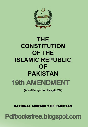 Free Pdf Books: The Constitution of Pakistan 19th amendment ...