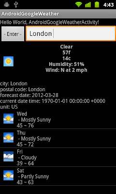 Google Weather App