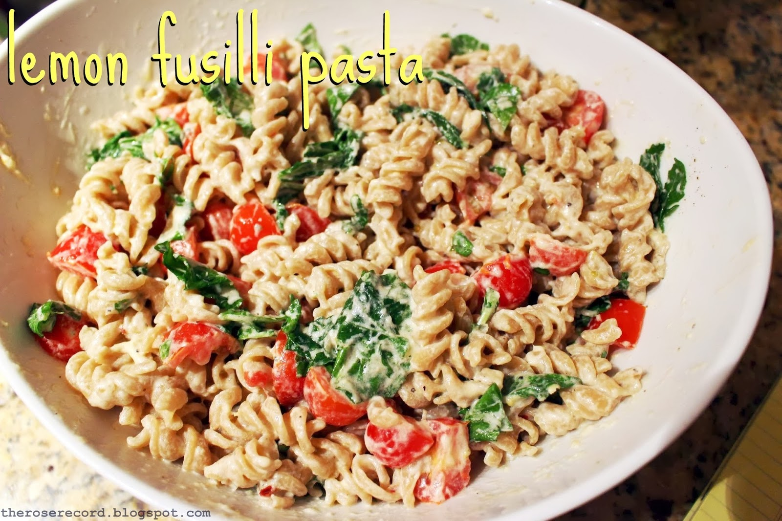 The Rose Record Wine Night Lemon Fusilli Pasta: ina garten summer pasta
