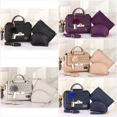 BONIA BAG ( 3 IN 1 SET ) - BEIGE , BLACK , GREY , NAVY BLUE , PURPLE