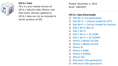Apple released iOS 6.1 Beta to developers