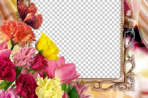 Portaretrato con lindas flores para el Día de las Madres 2
