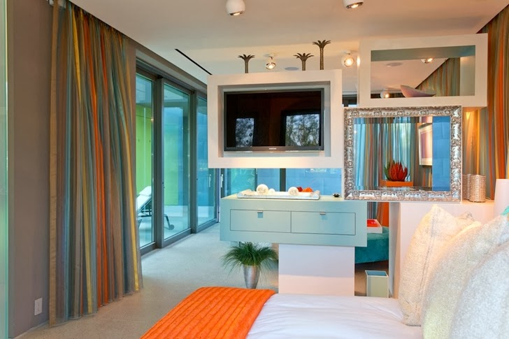 Bedroom furniture in Multimillion modern dream home in Las Vegas