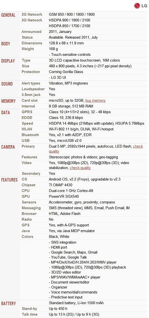 Spesifikasi LG Optimus 3D