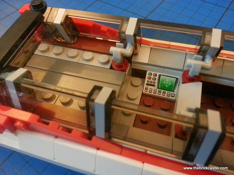 The LEGO Ghostbusters Ecto-1 hearse and Minifigures set 21108 vehicle inside detail