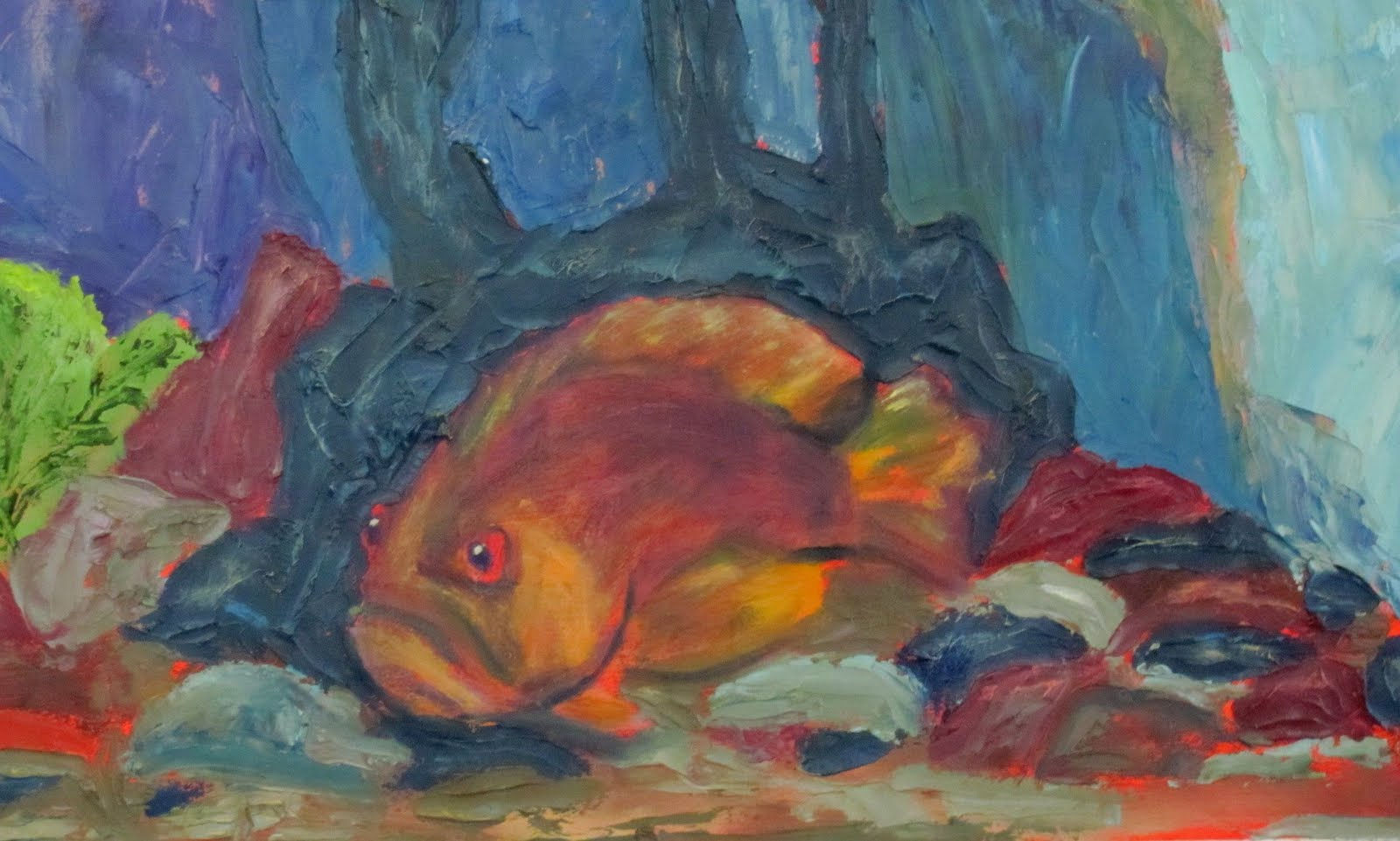 Artist susan spohn the grouper fish painting aquarium for Fish tank paint