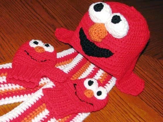Crochet Elmo Earflap Hat, Mittens & Scarf