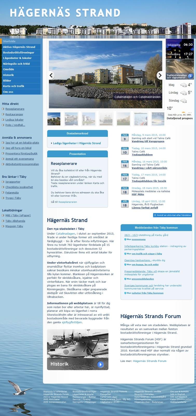 Hägernäs Strands startsida 2015-03-06