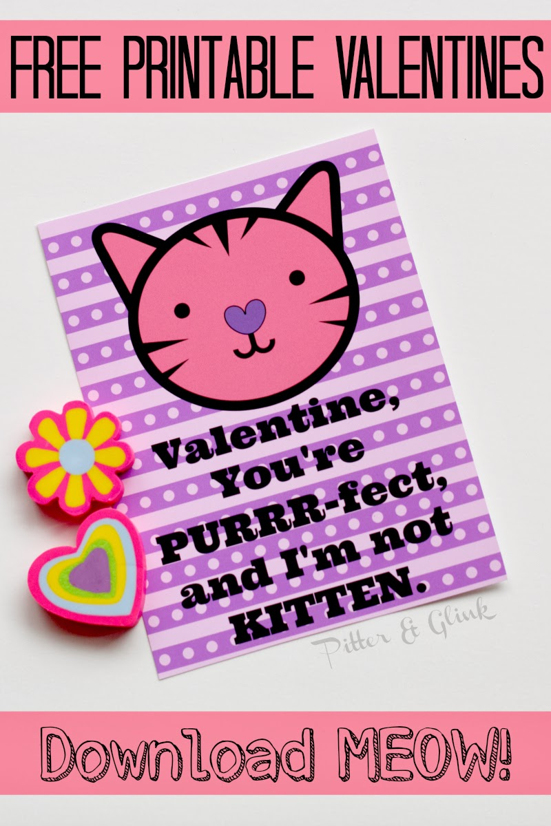 Free Printable Punny Kitten Valentines from Pitter and Glink #printablevalentine