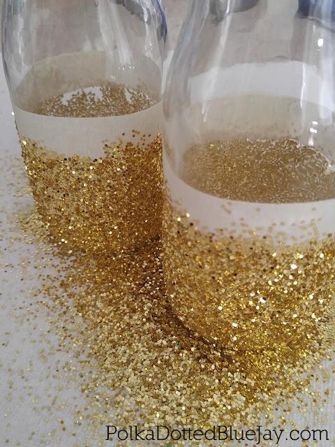 Gold Glitter Milk Bottles