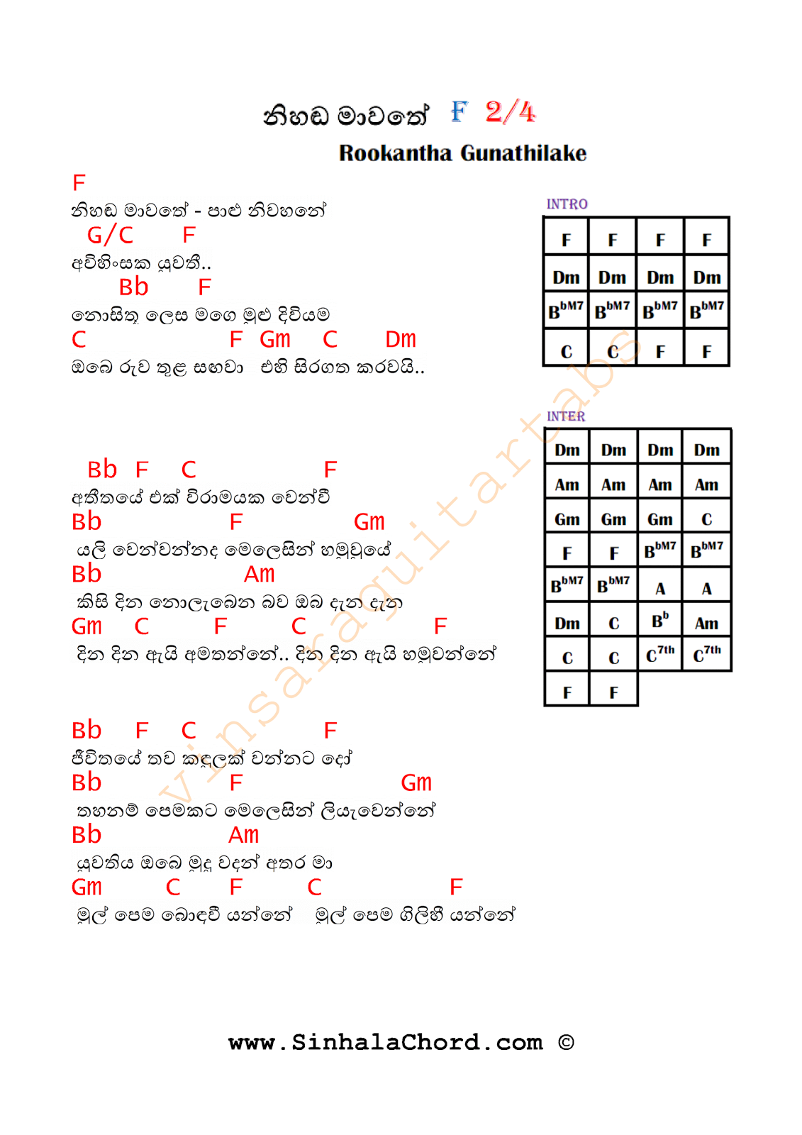 Guitar chords sinhala songs