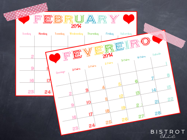 February 2014 free Calendar by BistrotChic