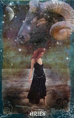Mujer con Carnero y Estrellas - aries