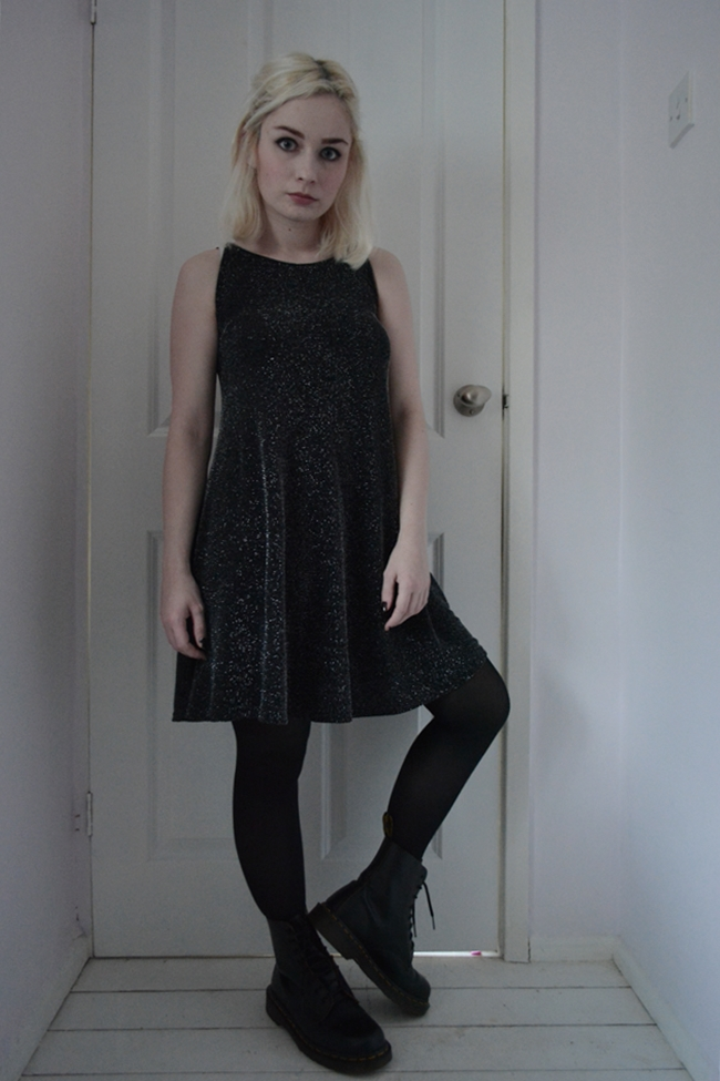 Dr Martens boots black sparkle swing dress
