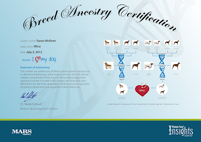 Mina's Breed Ancestry Certificate