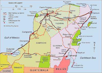Mapa de Mérida Político Región