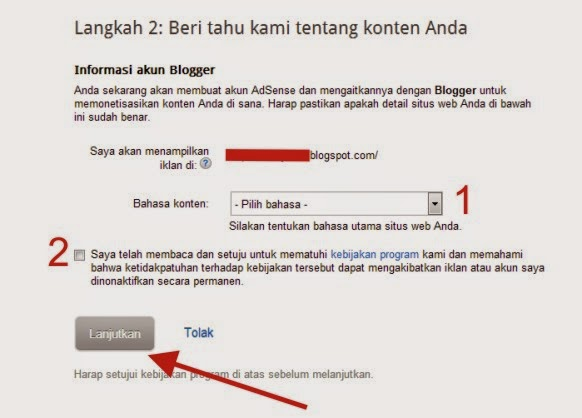 step 4 daftar adsense via blogger