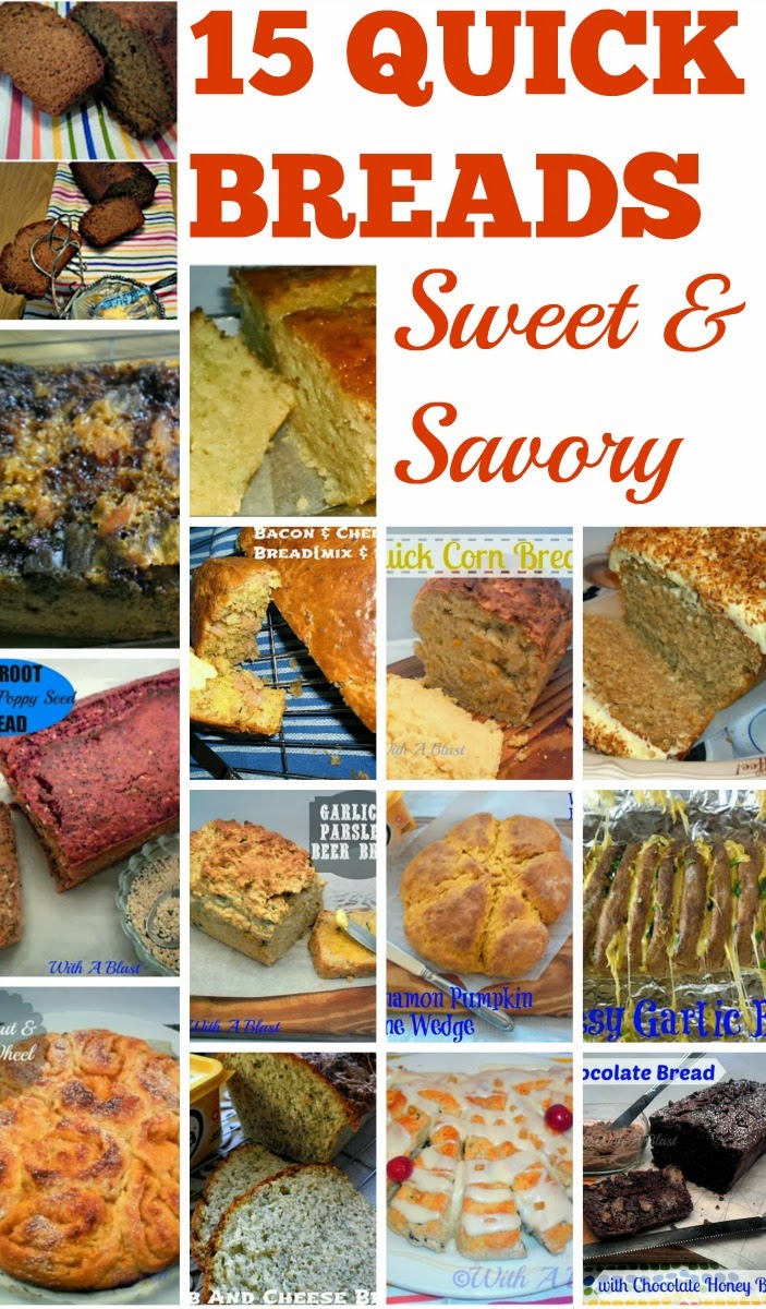 15 Best Quick Breads { Sweet and Savory } ~ Scrumptious Sweet & Savory bread recipes you can have ready in no time at all ! #QuickBreads #SweetBreads #SavoryBreads