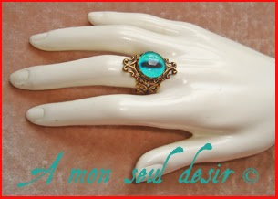 Bague fantasy bijou oeil de dragon Daenerys Targaryen Khaleesi Qarth blue dragon's eye ring jewelry
