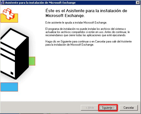Asistente para la instalación de Microsoft Exchange 2003.