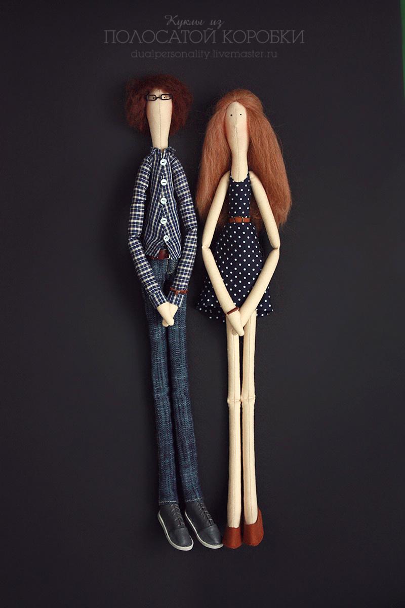 Портретные текстильные куклы — пара, джинсы для куклы