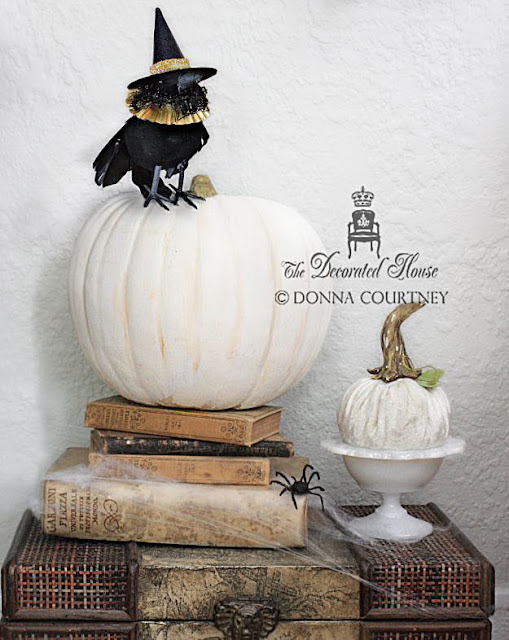 Decorating for Halloween in Black and White with Vintage, Milk Glass, Crows with Hats and more! from Donna ~ The Decorated House