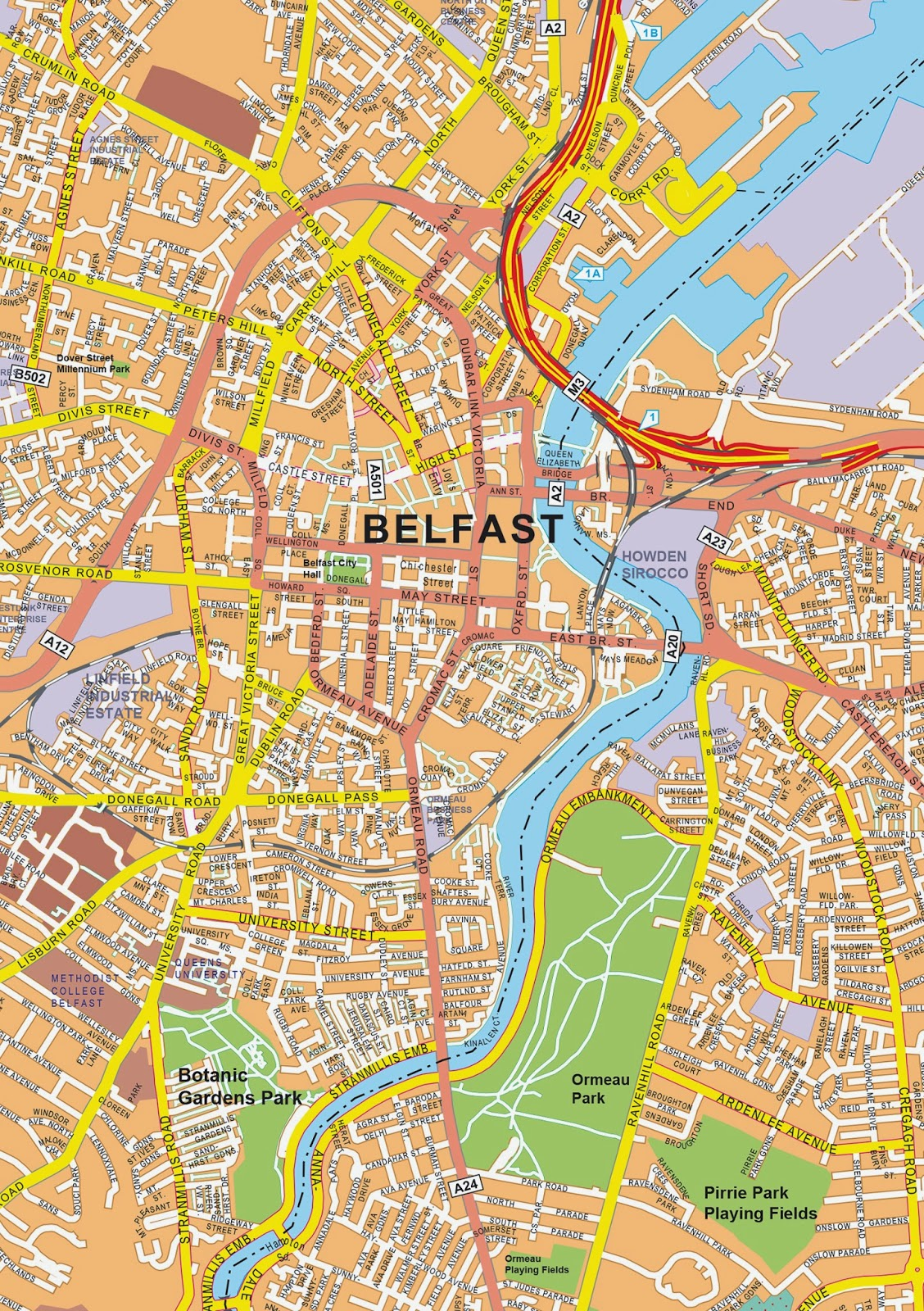 Excellent large street map of Belfast Northern Ireland