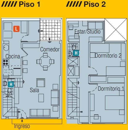 Planos de casa en 60m2 dos pisos mas azotea planos de for Planos de casas 90m2