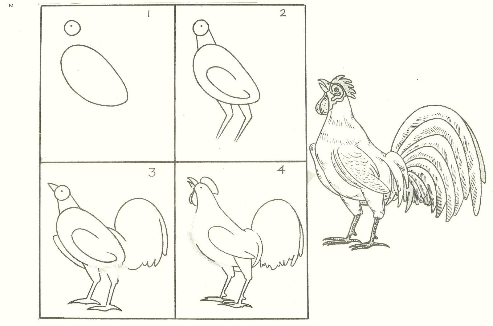 Studentsdrawing animal step by step easy outline drawing for Simple drawings step by step