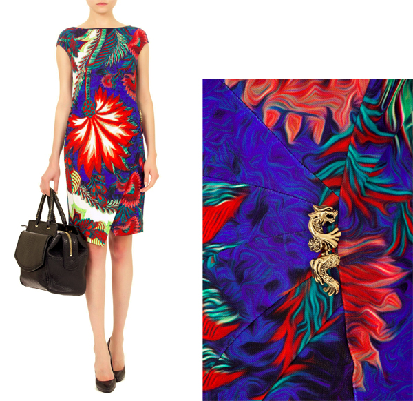 tropical patterns, flowers patterns, floral patterns, print dress, roberto cavalli dresses, dresses, beautiful dresses