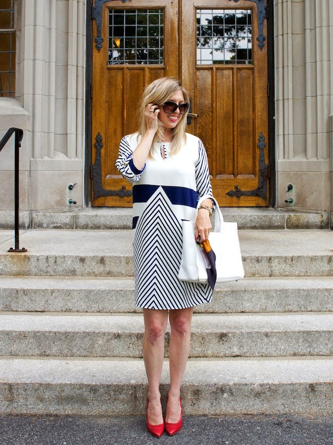 Christin Michaels Natasha Shift Dress, Zappos, nautical dress, boston style, Chelsea Paris, Nneka