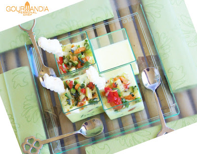 crema inglese salata e macedonia di verdure alle fines herbes