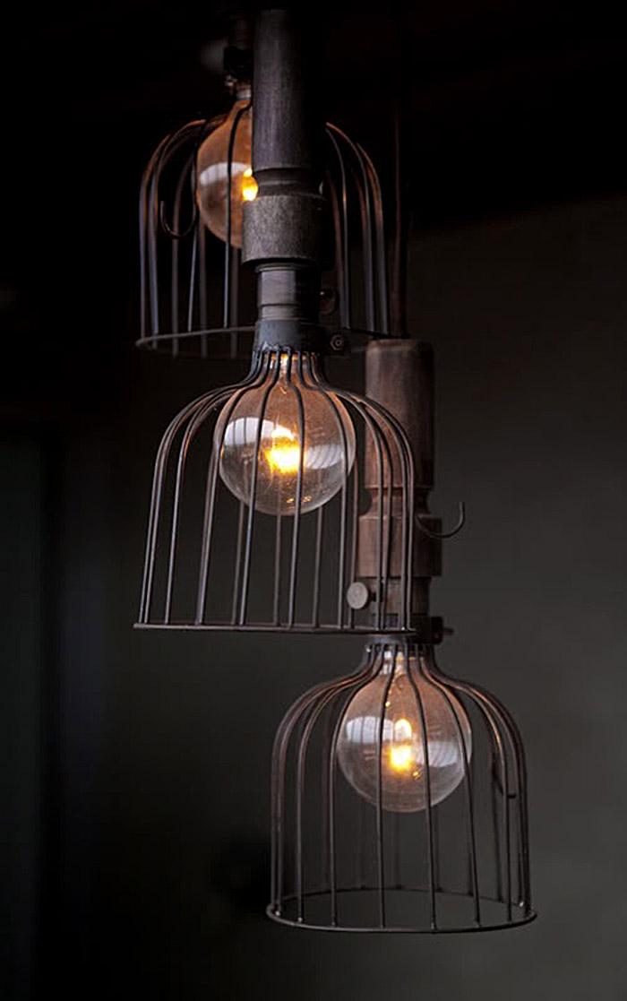 lampara de taller- jaula-vintage de diseño industrial -