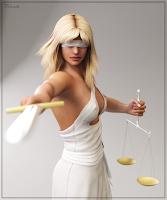 Joven mujer disfrazada de justicia