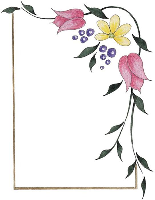 Hojas con margen de flores - Imagui