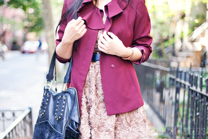 ruffled maroon thrifted blazer, von vonni rosette dress, mango nude pumps, fashion blog, new york city, brooklyn, diya liu