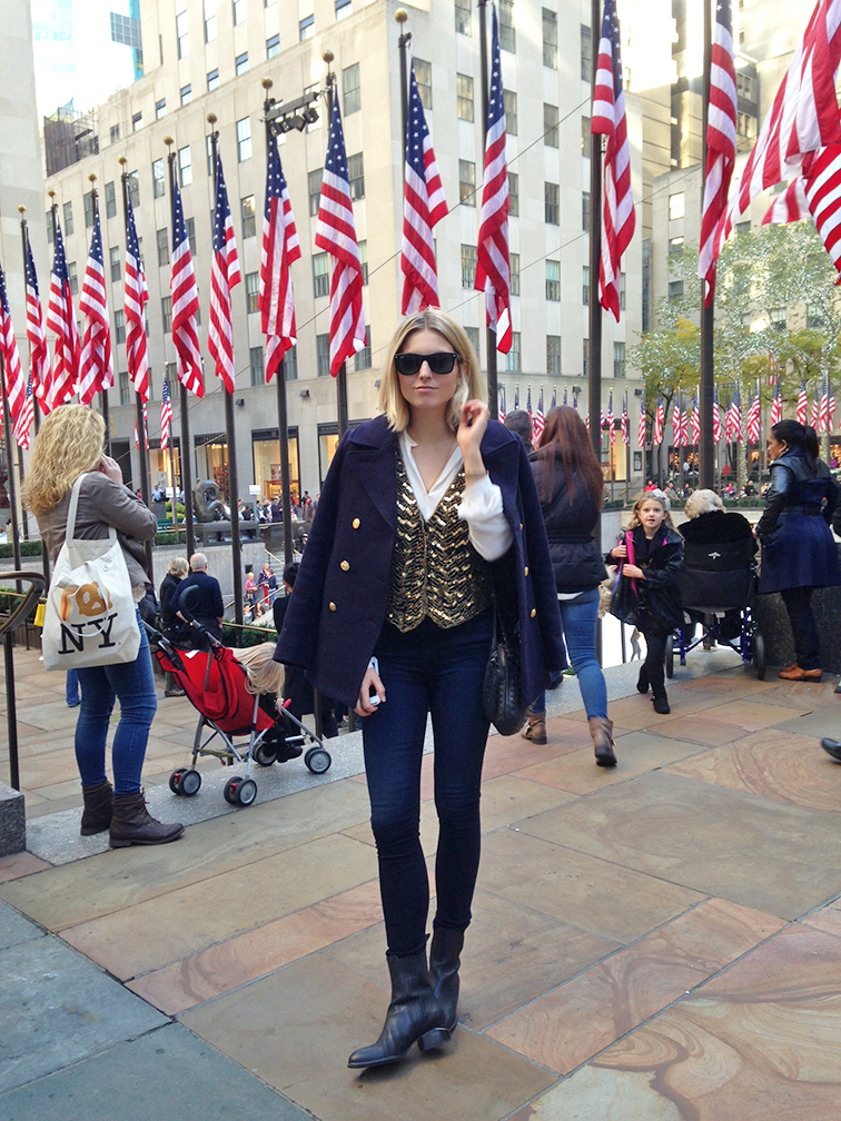 Fashion Over Reason at Rockefeller Plaza, JCrew navy Majesty pea coat, vintage sequined vest, Nasty Gal denim, Alexander Wang Anouk boots