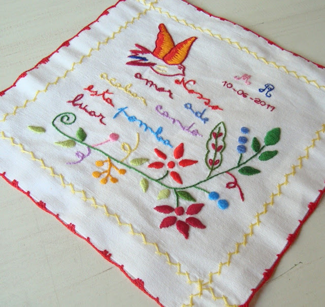 Custom Hand embroidered handkerchief I Love hankerchief I Wedding Handkerchief by donAlberta