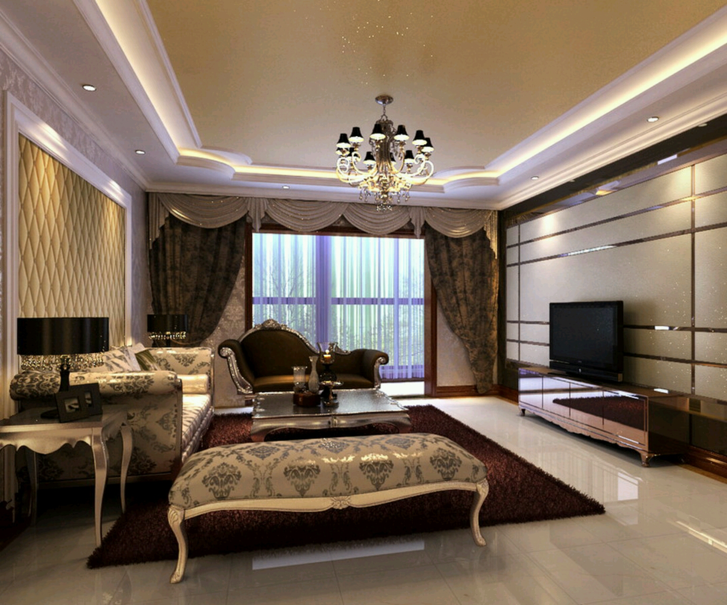 New home designs latest.: Luxury homes interior decoration living room