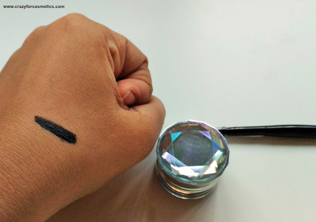 swatch of black gel liner from Daiso Japan