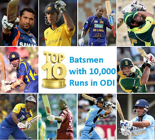 Top 10 Batsmen with 10,000 Runs in ODI