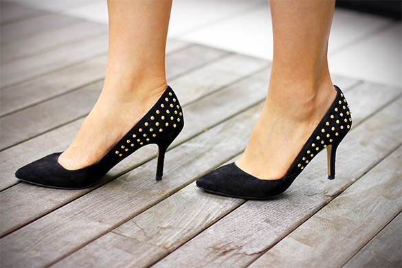 Zara black suede studded pumps