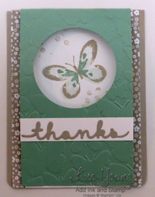 Stampin' Up! Watercolor Wings fold over type card with punched window. Handmade butterfly card by Lisa Young, Add Ink and Stamp