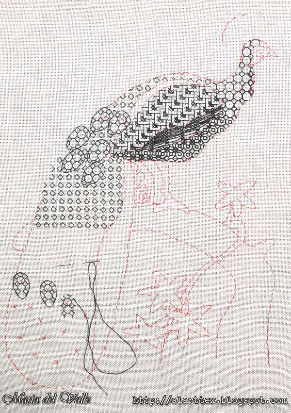 Blackwork Embroider-Peackok-2
