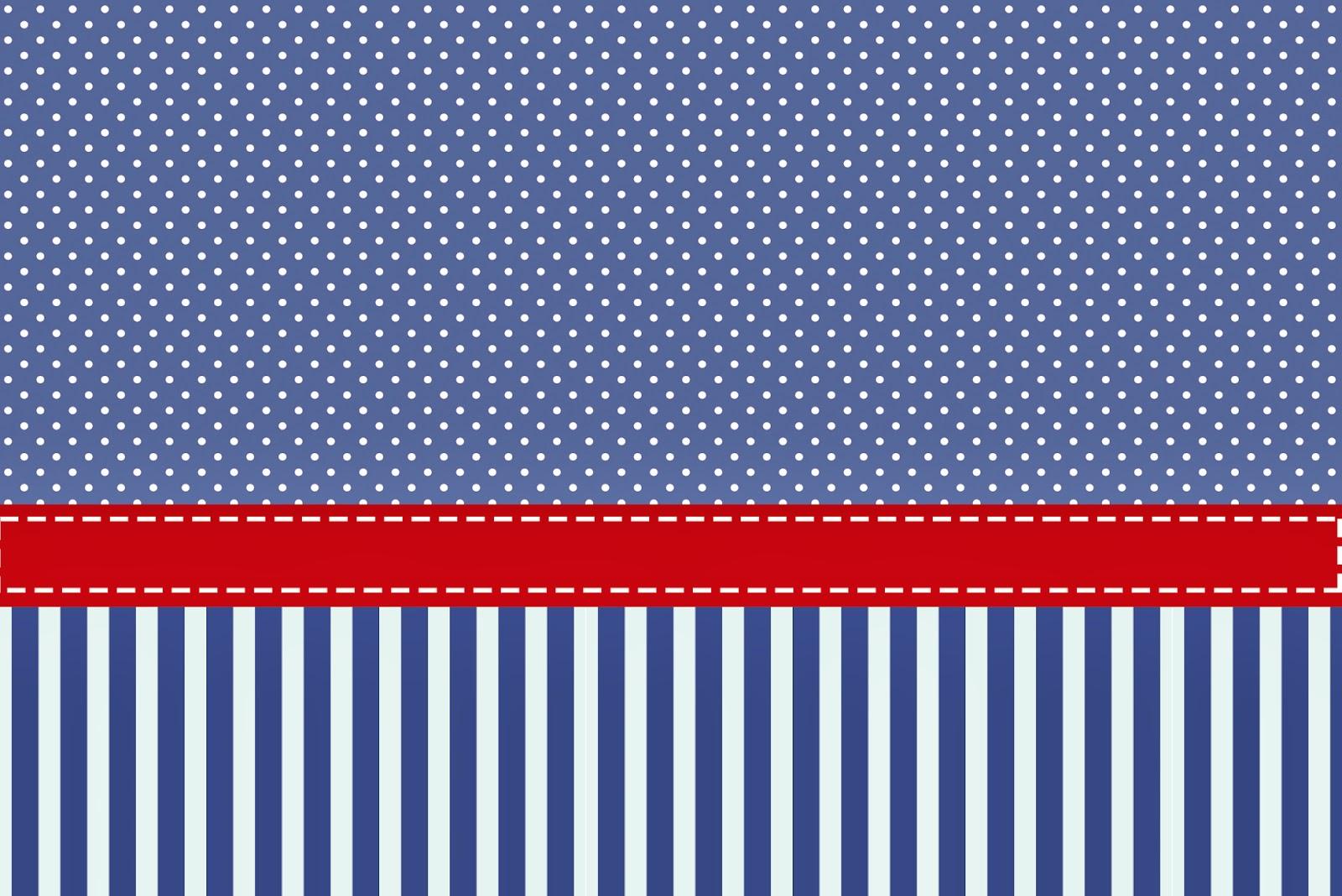 Rayas azules y puntos blancos invitaciones para imprimir for Papel con rayas