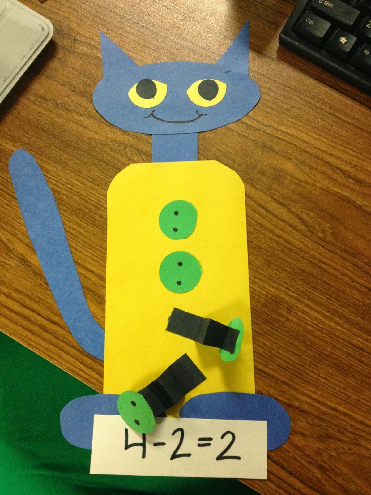 Kroger 39 s kindergarten pete the cat subtraction for Cat art and craft