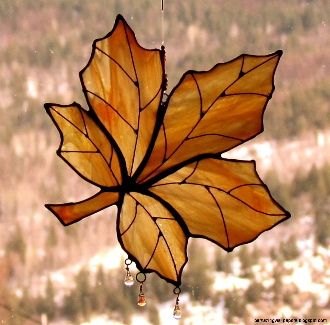 Hand Made Autumn Gold Maple Leaf Stained Glass Sun Catcher by JAGS