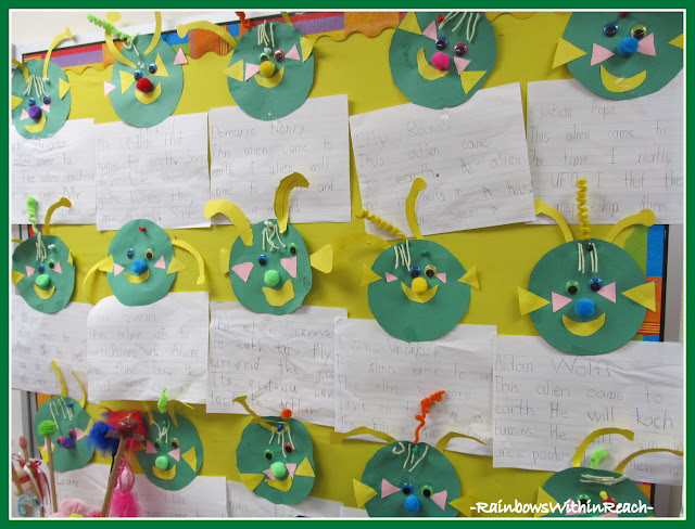 "photo of: Bulletin Board of ""Alien"" Writing (from Bulletin Board RoundUP via RainbowsWithinReach)"