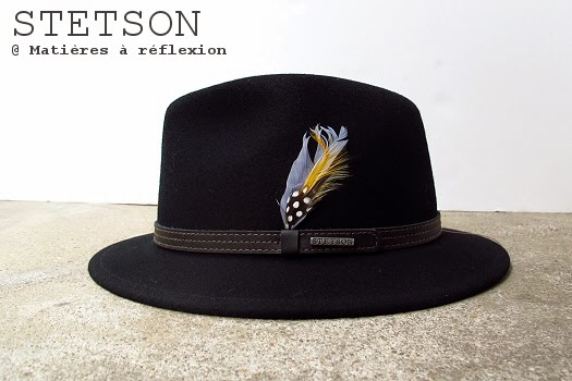 Chapeau femme Stetson noir à moyen bord