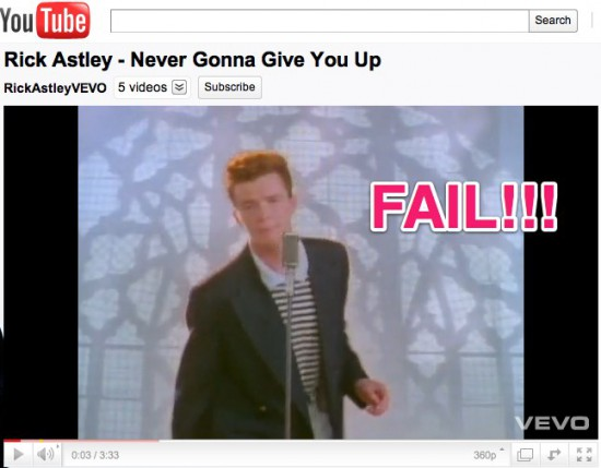 YouTube Rick Astley Never Gonna Give You Up